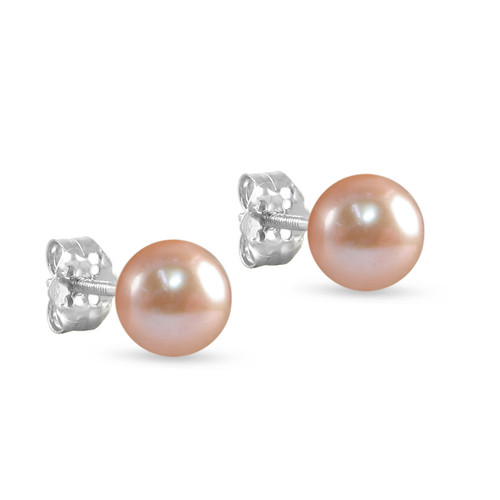 10K White Gold Freshwater Cultured Pink 8 - 8.5mm Button Pearl Stud Earrings Screw Back Post