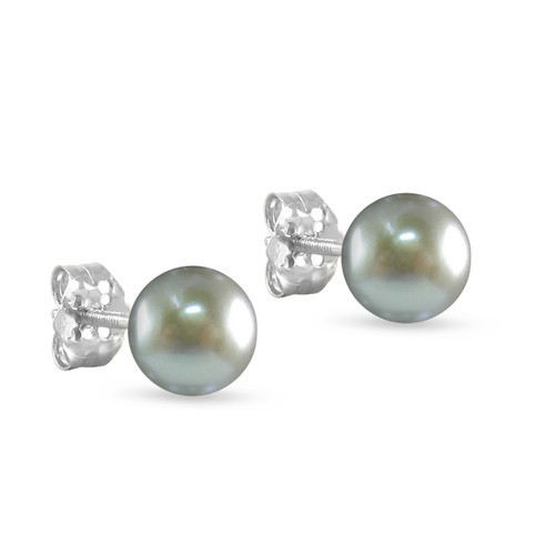 10K White Gold Freshwater Cultured Silver Gray 8 - 8.5mm Button Pearl Stud Earrings Screw Back Post