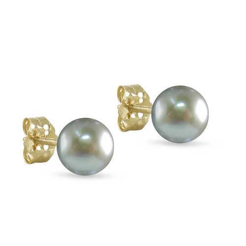 10K Yellow Gold Freshwater Cultured Silver Gray 8 - 8.5mm Button Pearl Stud Earrings Screw Back Post