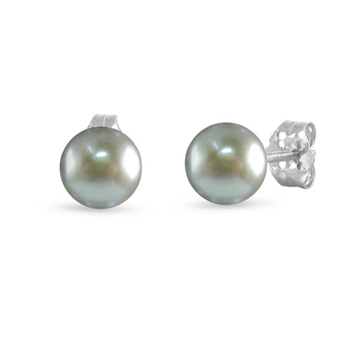14K White Gold Cultured Freshwater Pearl Silver Gray 8 - 8.5mm Button Stud Earrings Screw Back