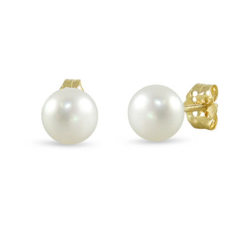 14K Yellow Gold Cultured Freshwater Pearl White 8 - 8.5mm Button Stud Earrings Screw Back