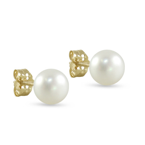10K Yellow Gold Freshwater Cultured White 9 - 9.5mm Button Pearl Stud Earrings Screw Back Post