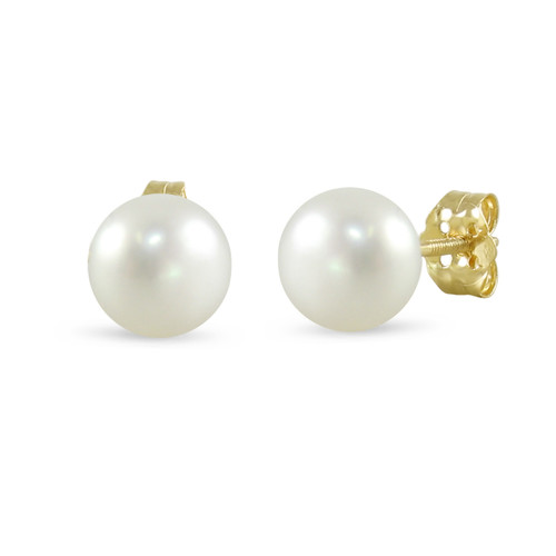 14K Yellow Gold Cultured Freshwater Pearl White 10 - 10.5mm Button Stud Earrings Screw Back