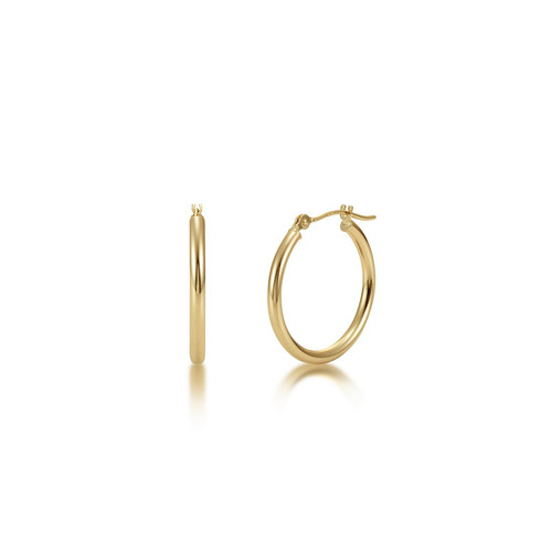 14k Gold Hoop Earrings - High Polish Finish
