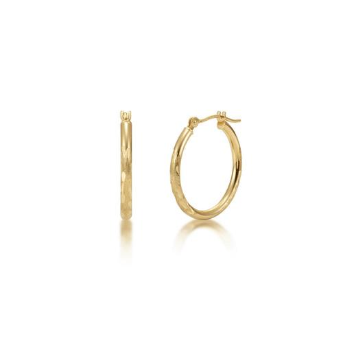 14k Gold Hoop Earrings - Satin Diamond Cut Finish