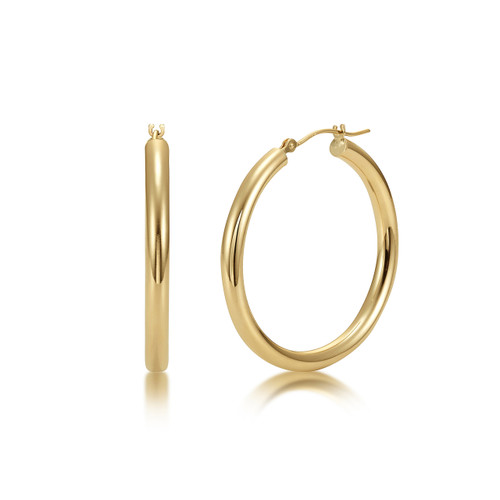 14k Gold Hoop Earrings 3mm - High Polish Finish
