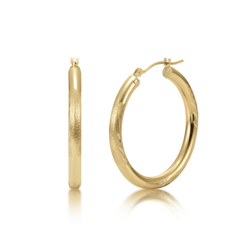 14k Gold Hoop Earrings 3mm - Satin Diamond Cut Finish