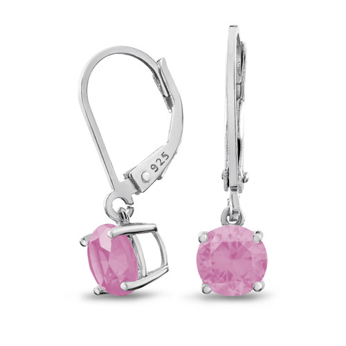 Rhodium Plated Sterling Silver Basket Setting 6mm Brilliant Round Pink CZ Leverback Dangle Earrings