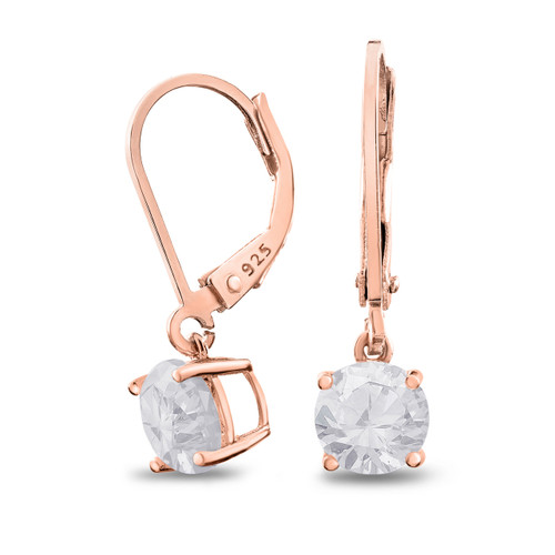 Rose Gold Plated Sterling Silver Basket Setting 6mm Brilliant Round White CZ Leverback Dangle Earrings