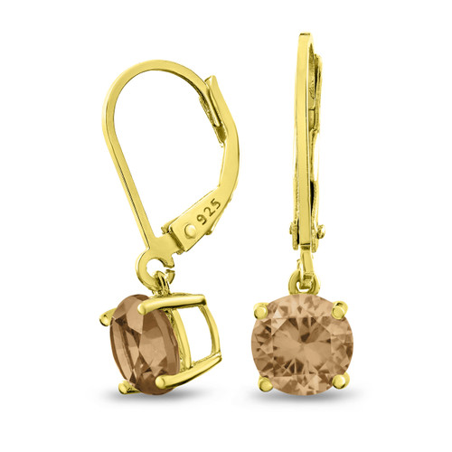 18K Gold Plated Sterling Silver Basket Setting 7mm Round Champagne CZ Leverback Dangle Earrings