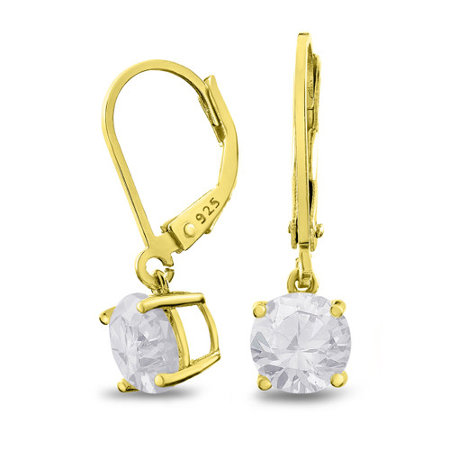 18K Gold Plated Sterling Silver Basket Setting 7mm Brilliant Round White CZ Leverback Dangle Earrings