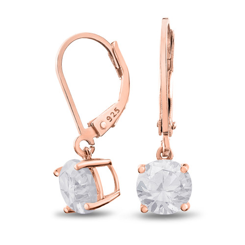 Rose Gold Plated Sterling Silver Basket Setting 7mm Brilliant Round White CZ Leverback Dangle Earrings