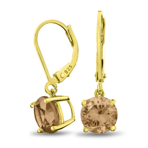 18K Gold Plated Sterling Silver Basket Setting 8mm Round Champagne CZ Leverback Dangle Earrings