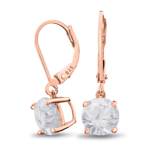 Rose Gold Plated Sterling Silver Basket Setting 8mm Brilliant Round White CZ Leverback Dangle Earrings