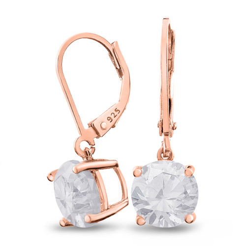 Rose Gold Plated Sterling Silver Basket Setting 9mm Brilliant Round White CZ Leverback Dangle Earrings