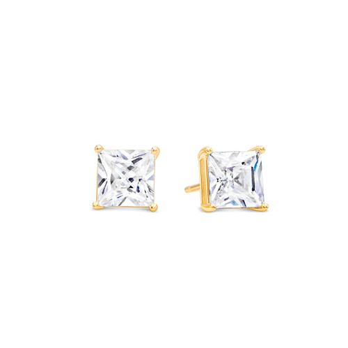 Basket Set Stud Earrings with Square Princess Cut White CZ - 925 + Gold Plate