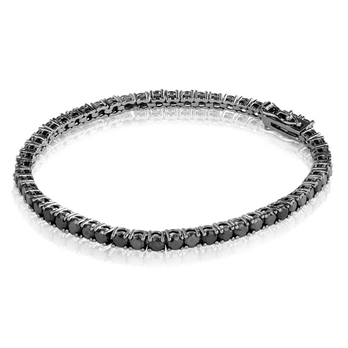 Sterling Silver Round 2mm Black CZ Tennis Bracelet + Black Rhodium (7.25 inch)