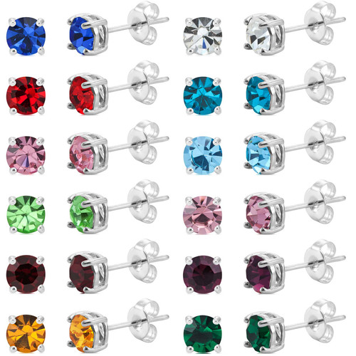 Silver Plated 5mm Birthstone Earrings