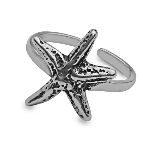 Sterling Silver Aquatic Starfish Toe Ring Oxidized