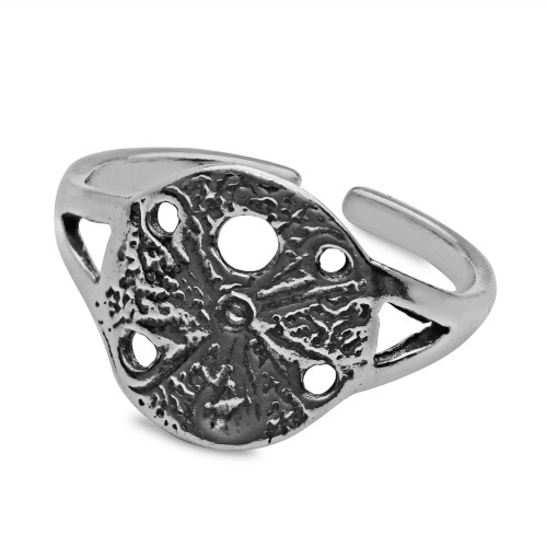 Sterling Silver Aquatic Sand Dollar Toe Ring Oxidized