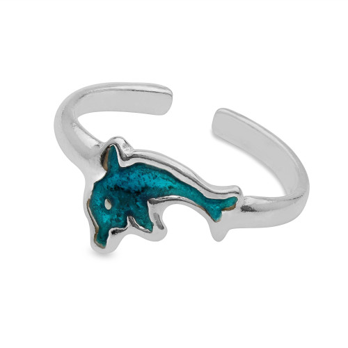 Sterling Silver High Polished Aquatic Blue Enamel Dolphin Toe Ring