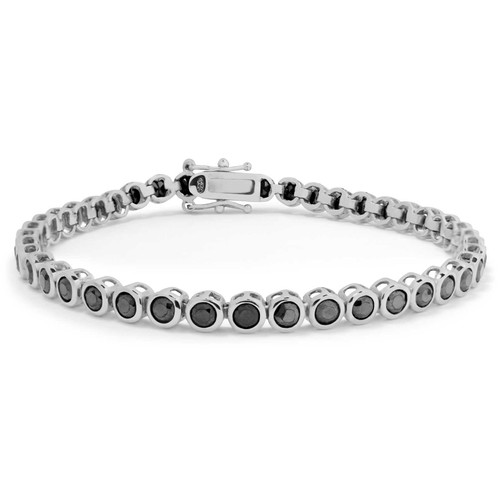 Sterling Silver Black CZ Tennis Bracelet - 7""