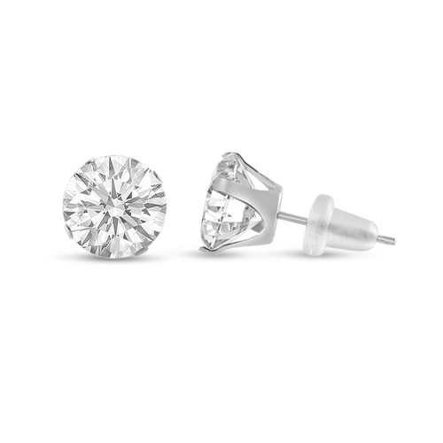 10K White Gold Round Genuine White Topaz Stud Earrings