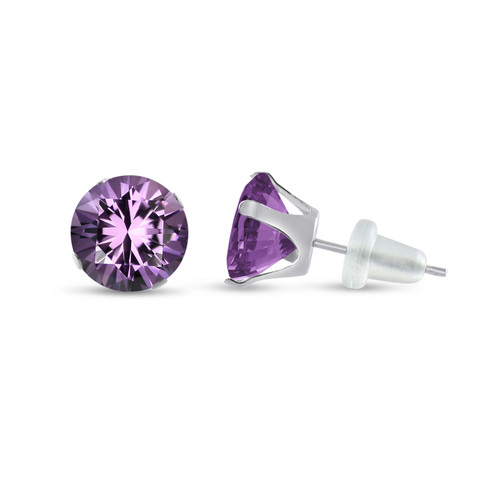 10K White Gold Round Genuine Amethyst Stud Earrings