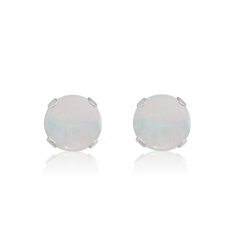 10K White Gold Round Genuine Opal Stud Earrings
