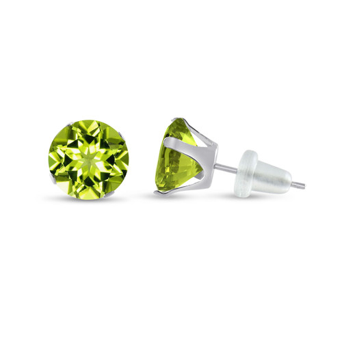10K White Gold Round Genuine Peridot Stud Earrings
