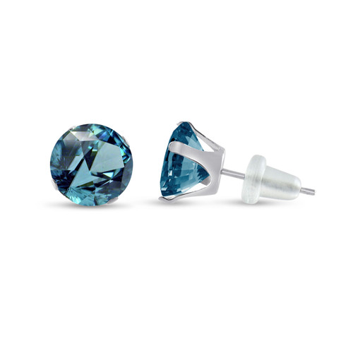 10K White Gold Round Simulated Blue Zircon Stud Earrings