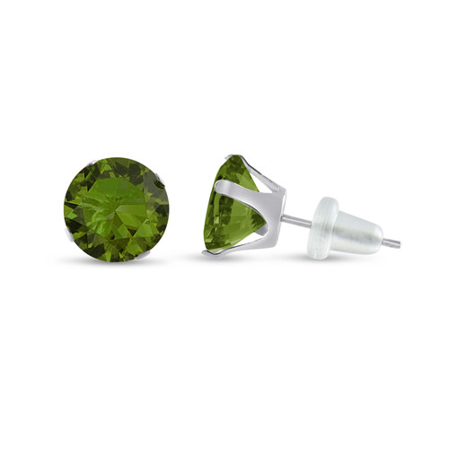 10K White Gold Round Olive Green CZ Stud Earrings
