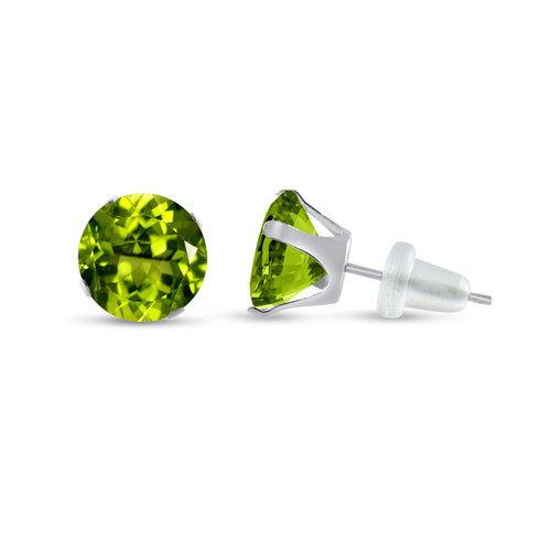 10K White Gold Round Simulated Peridot CZ Stud Earrings