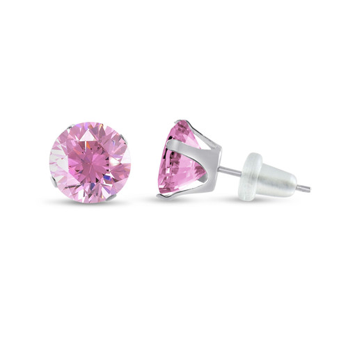 10K White Gold Round Pink CZ Stud Earrings