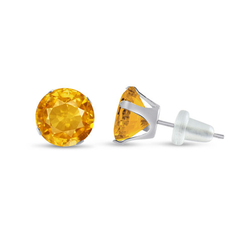 10K White Gold Round Golden Yellow CZ Stud Earrings