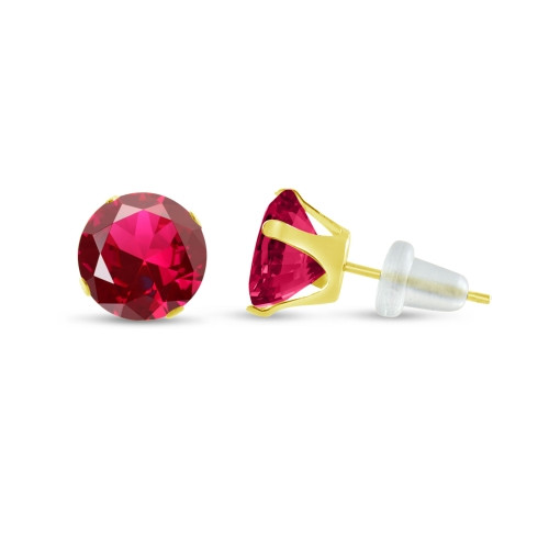 10K Yellow Gold Round Lab-Created Ruby Stud Earrings