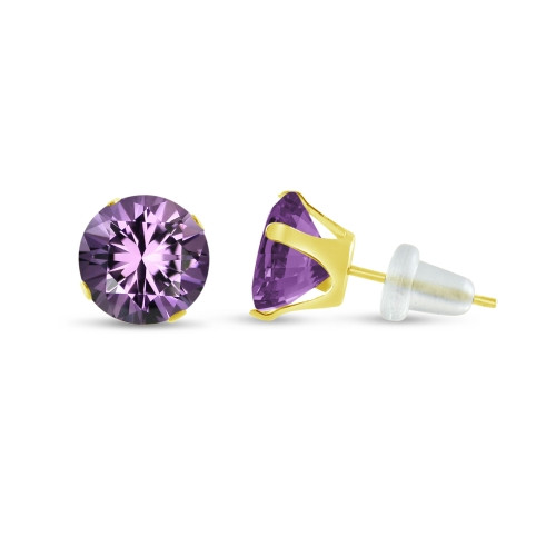 10K Yellow Gold Round Genuine Amethyst Stud Earrings