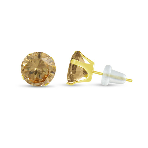 10K Yellow Gold Round Genuine Citrine Stud Earrings