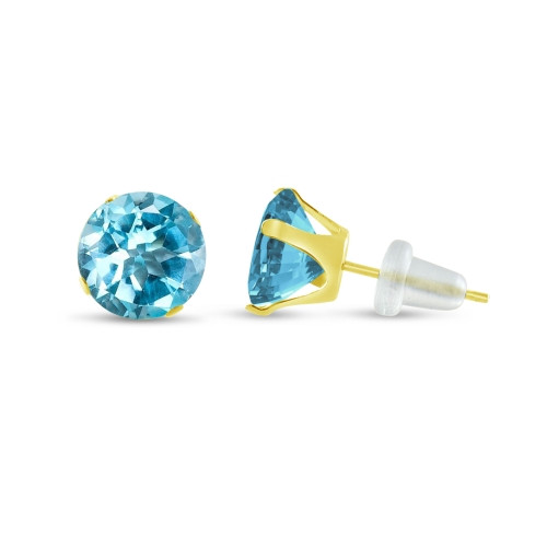 10K Yellow Gold Round Genuine Sky Blue Topaz Stud Earrings
