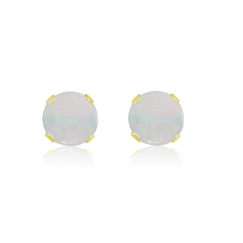 10K Yellow Gold Round Genuine Opal Stud Earrings
