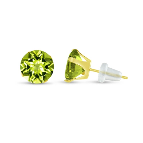 10K Yellow Gold Round Genuine Peridot Stud Earrings