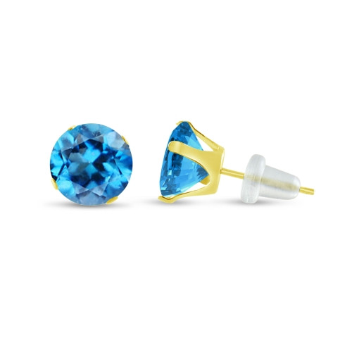 10K Yellow Gold Round Genuine Swiss Blue Topaz Stud Earrings