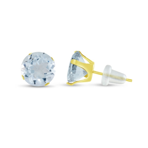 10K Yellow Gold Round Simulated Aquamarine Stud Earrings