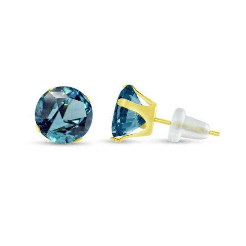 10K Yellow Gold Round Simulated Blue Zircon Stud Earrings