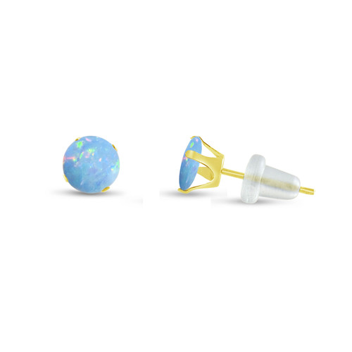 Round Synthetic Baby Blue Opal in 10k Yellow Gold  Stud Earrings