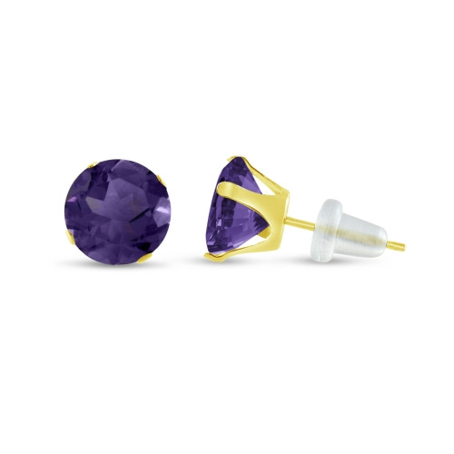 10K Yellow Gold Round Simulated Amethyst CZ Stud Earrings