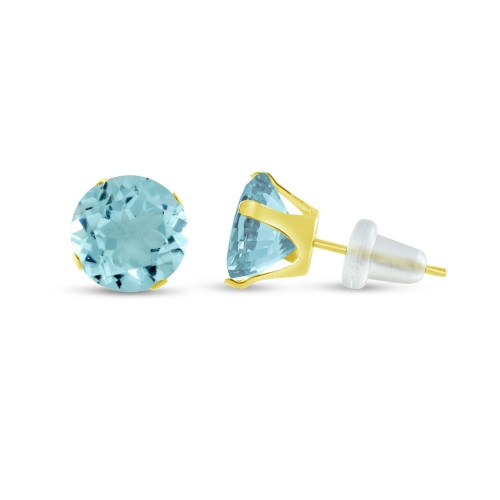 10K Yellow Gold Round Simulated Aquamarine CZ Stud Earrings