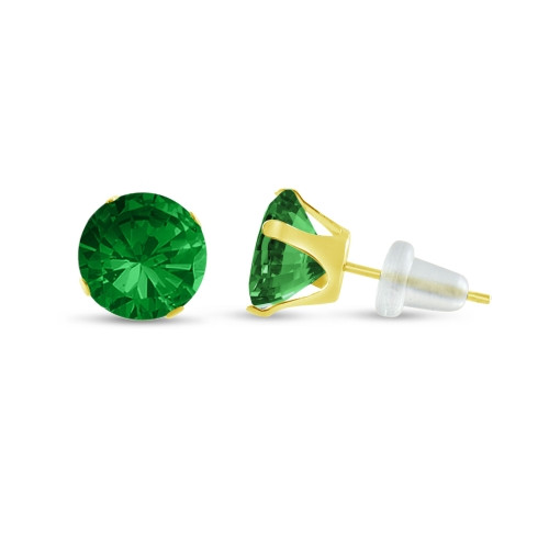 10K Yellow Gold Round Simulated Emerald CZ Stud Earrings