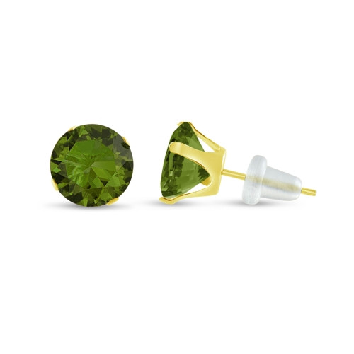 10K Yellow Gold Round Olive Green CZ Stud Earrings