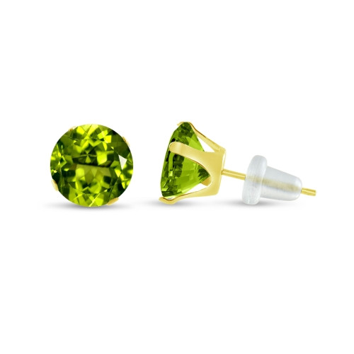10K Yellow Gold Round Simulated Peridot CZ Stud Earrings